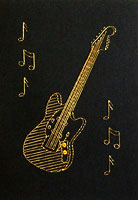 Fender Mustang Guitar Stitched Card