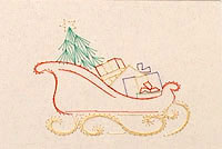 Xmas Sleigh Stitched Card